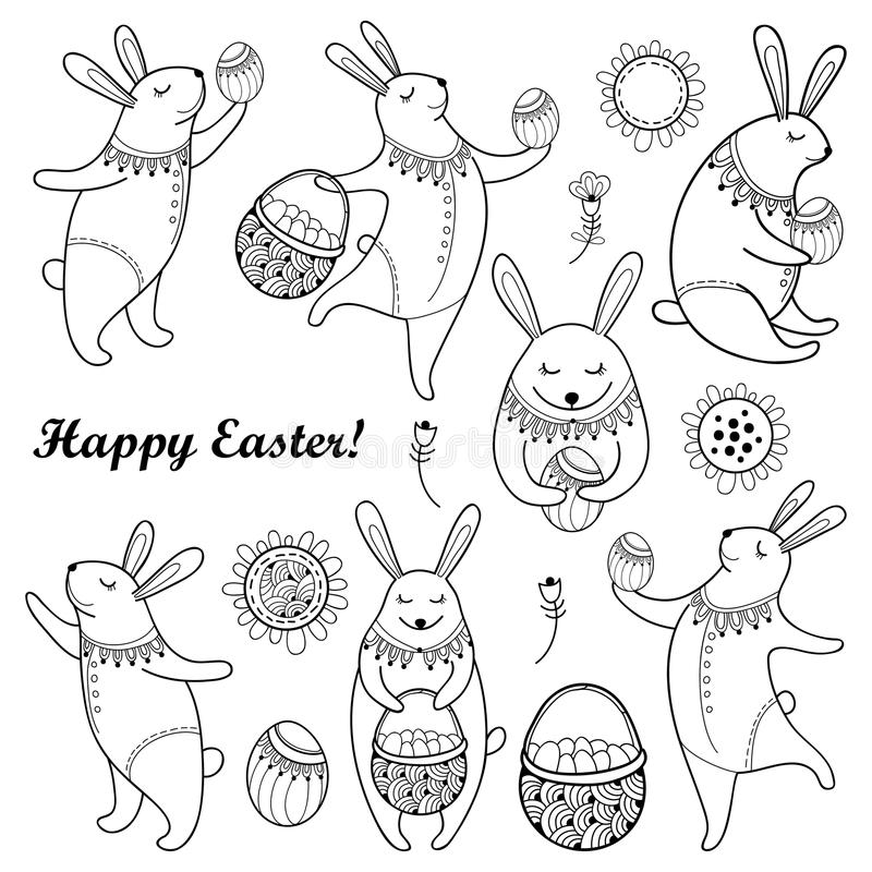 Vector Happy Easter set with outline easter rabbit, egg and basket isolated on white background. Cartoon elements with cute bunny. And eggs in contour style for royalty free illustration