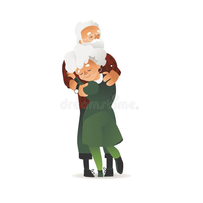Vector happy elderly couple hugging with smile. Senior man and woman love each other. Grey-haired old age people, wife and husband express care for each other vector illustration