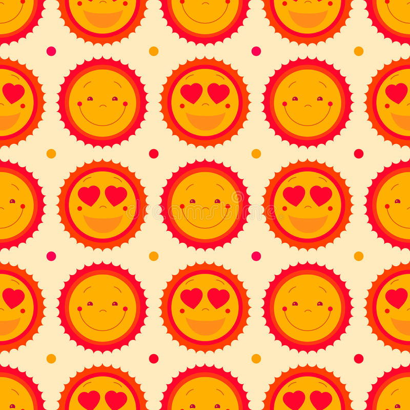 Vector happy emoticons seamless pattern background with suns. Summer fun background, repeating pattern design. Cute sun icons set. For baby, kids, children royalty free illustration