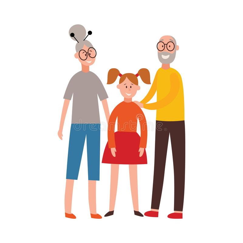 Vector happy grandparents together hug young girl. Vector happy grandparents standing together hugging granddaughter. Senior couple with young girl. Smiling royalty free illustration
