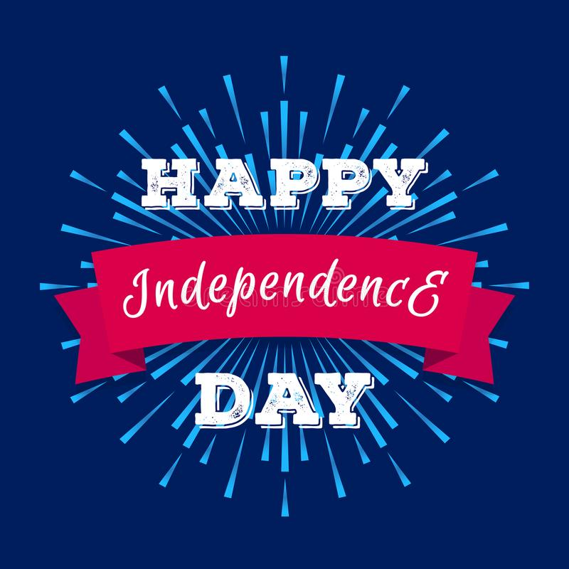 Vector happy independence day banner with sunburst on cyan background royalty free illustration