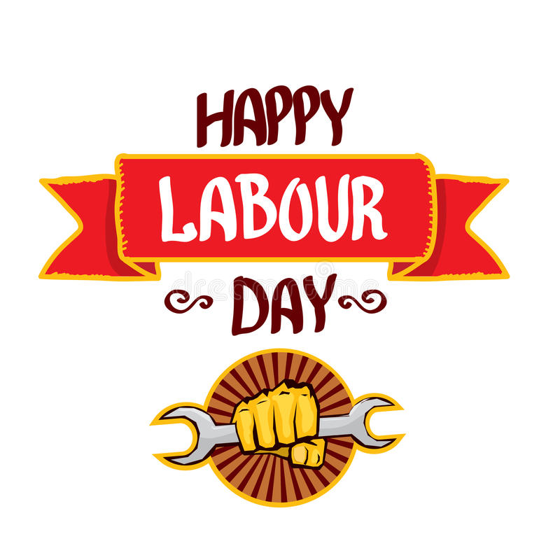Vector happy labour day poster. 1 may - labour day. vector happy labour day poster or workers day banner royalty free illustration