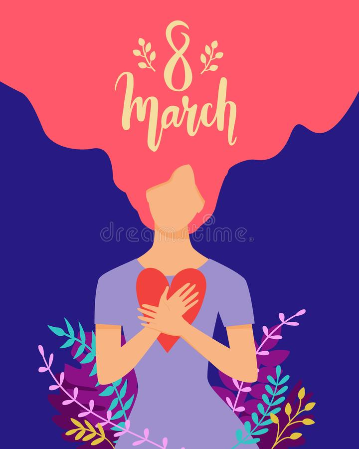 Vector Happy 8 March illustration with beautiful woman surrounded by plants holding heart. Trendy International Women`s Day stock illustration