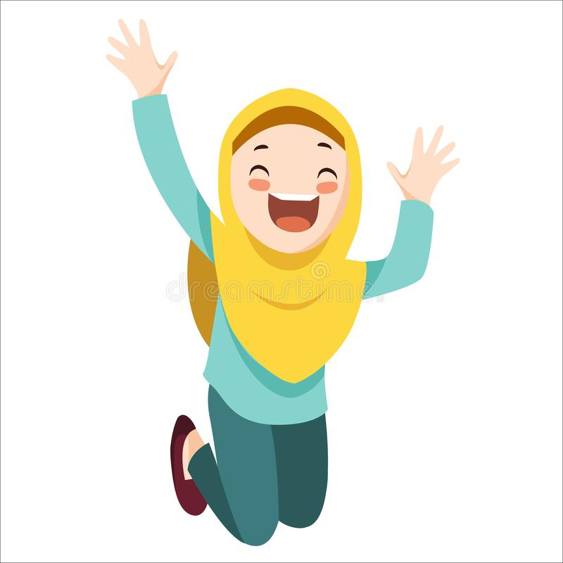 Vector - happy muslim girl royalty free illustration