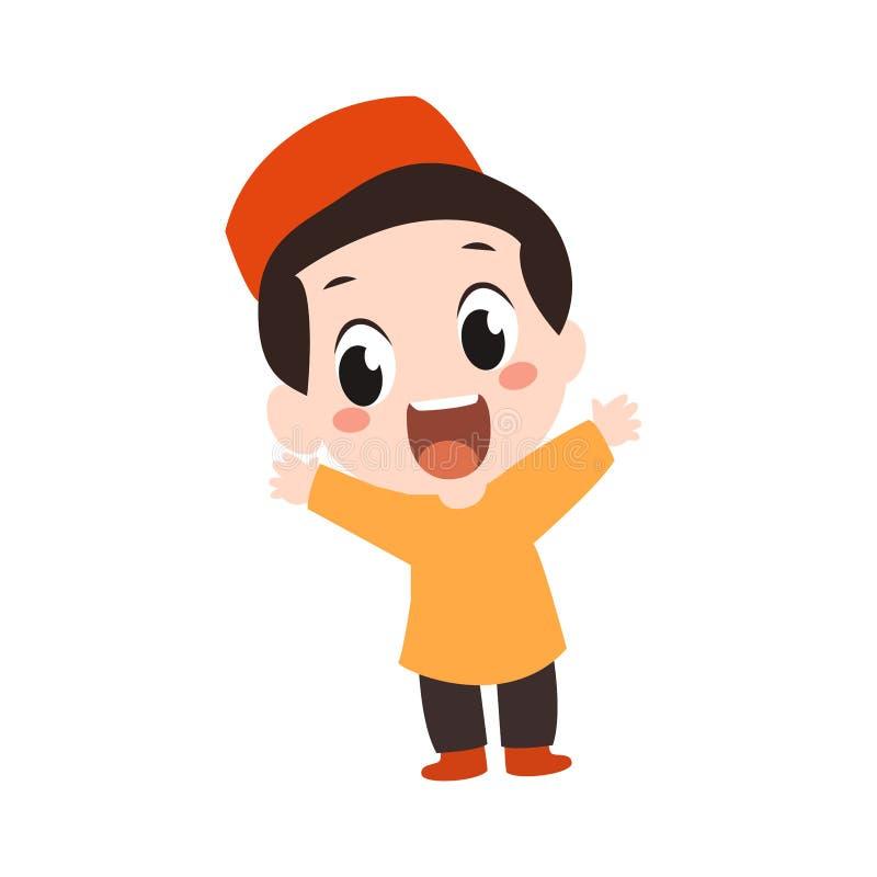 Vector - happy muslim kid. Vector cartoon illustration of happy muslim kid vector illustration
