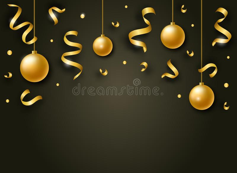 Vector Happy New Year background with golden shiny ribbons, balls and confetti royalty free illustration