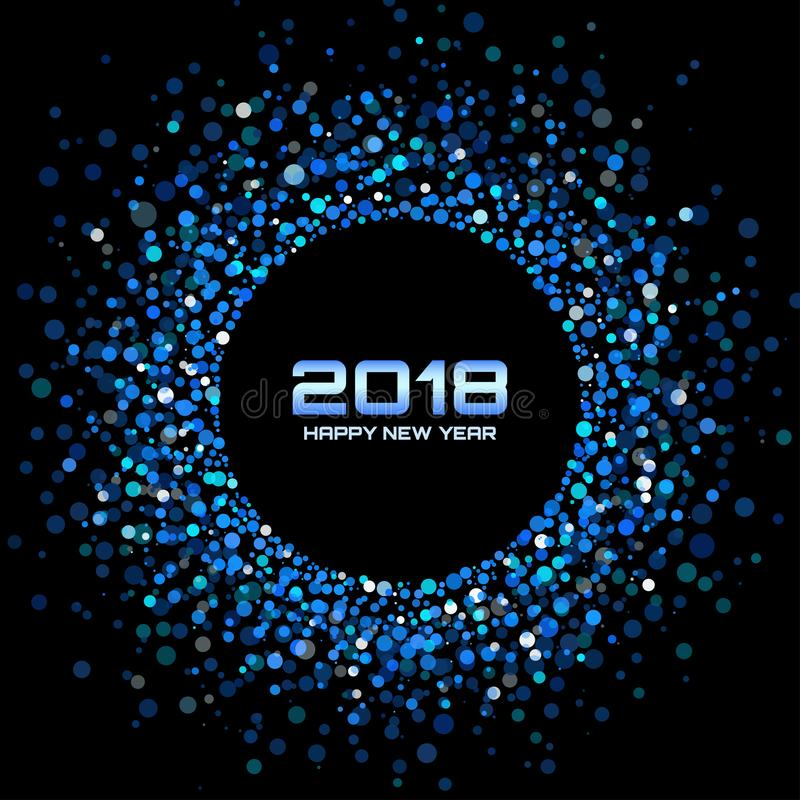 Vector Happy New Year 2018 Card Background. Blue Bright Disco Lights Halftone Circle Frame. vector illustration