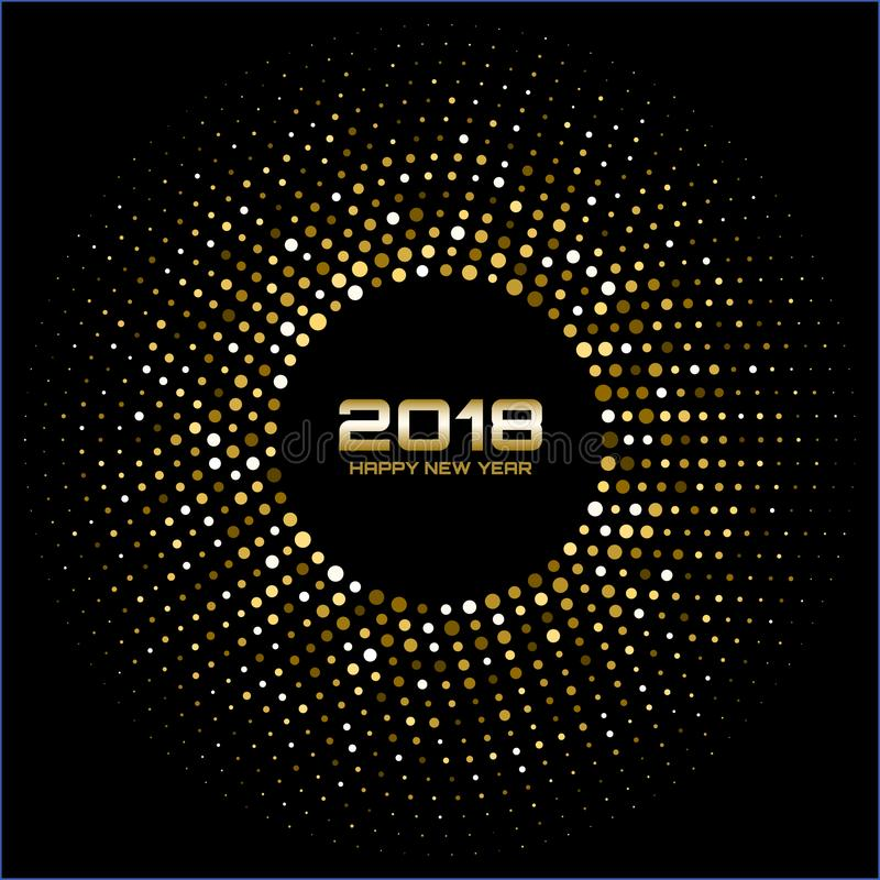 Vector Happy New Year 2018 Card Background. Gold Bright Disco Lights Halftone Circle Frame. stock illustration