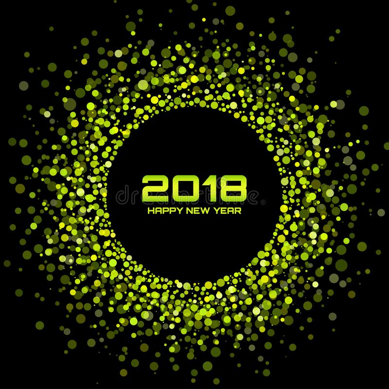 Vector Happy New Year 2018 Card Background. Green Bright Disco Lights Halftone Circle Frame. vector illustration