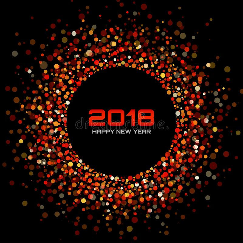 Vector Happy New Year 2018 Card Background. Red Bright Disco Lights Halftone Circle Frame. vector illustration