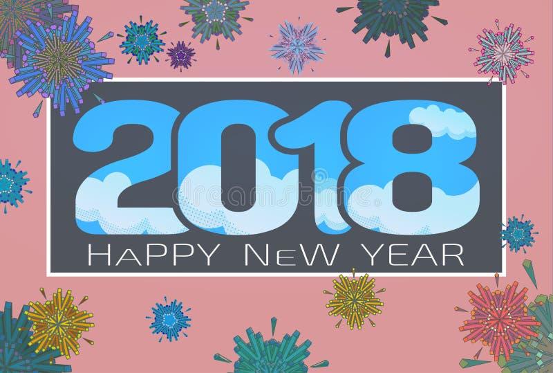 Vector 2018 happy new year celebration BG stock illustration