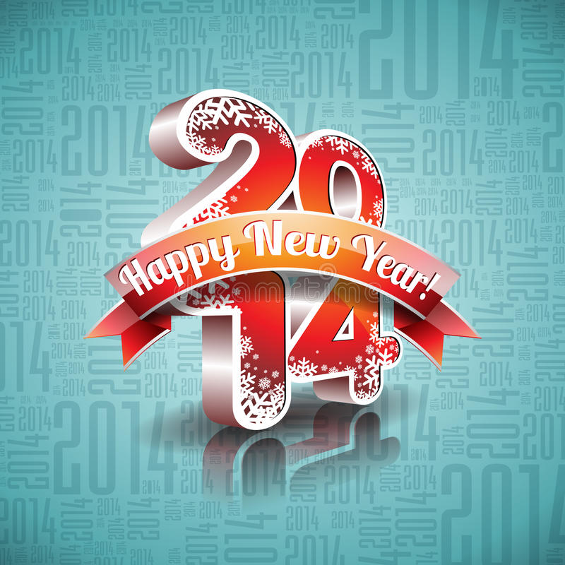 Download Vector Happy New Year 2014 Design With Ribbon On Typographic Background Stock Vector - Illustration of festival, happy: 35141799