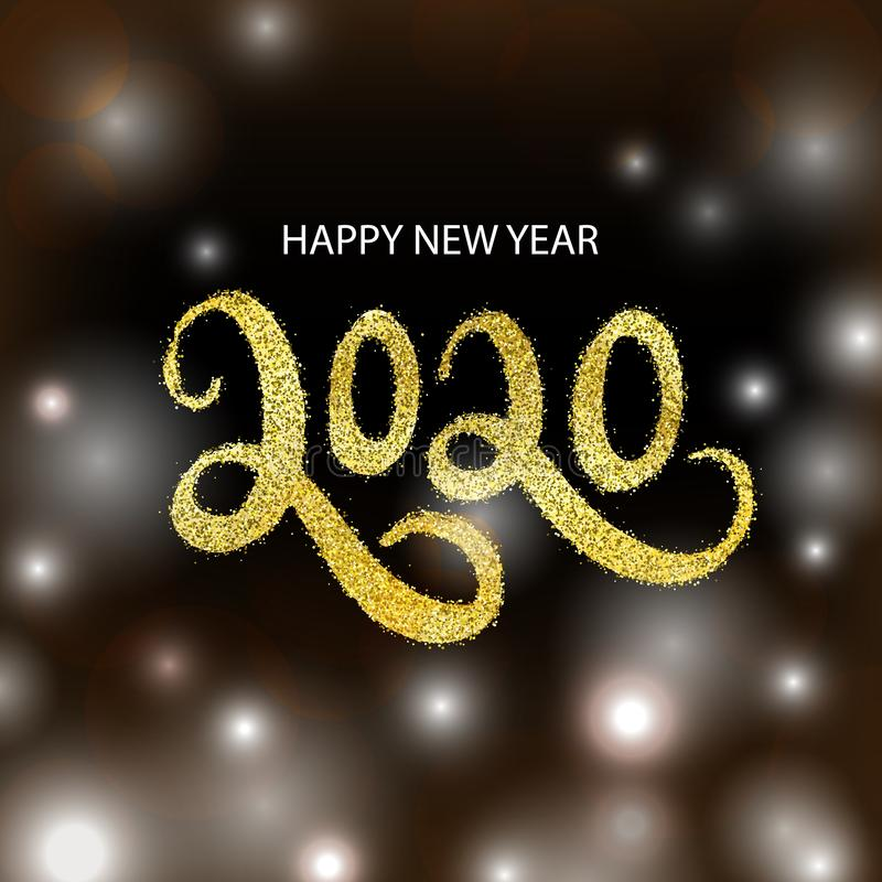 Vector Happy New Year 2020 greeting card on bokeh background. stock illustration