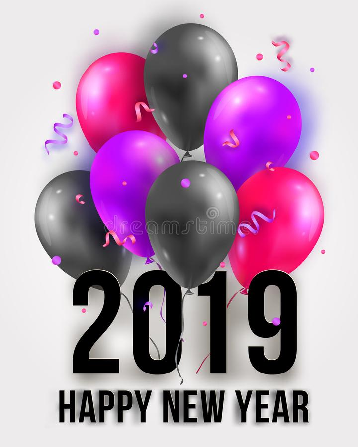 Vector Happy New Year 2019 illustration with flying 3d party air balloons, ribbons and confetti. Trendy Merry Christmas stock illustration