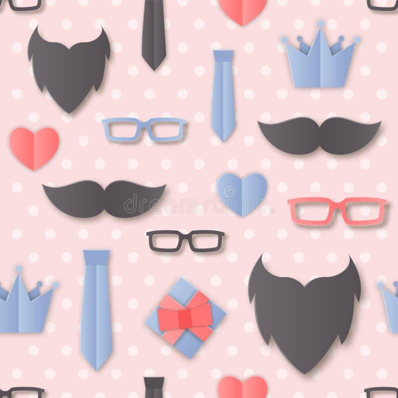 Vector Happy Padre's Day con accessori per uomini: Occhiali, Cravatta, Barba, Mustache, Imballaggio a strati illustrazione vettoriale