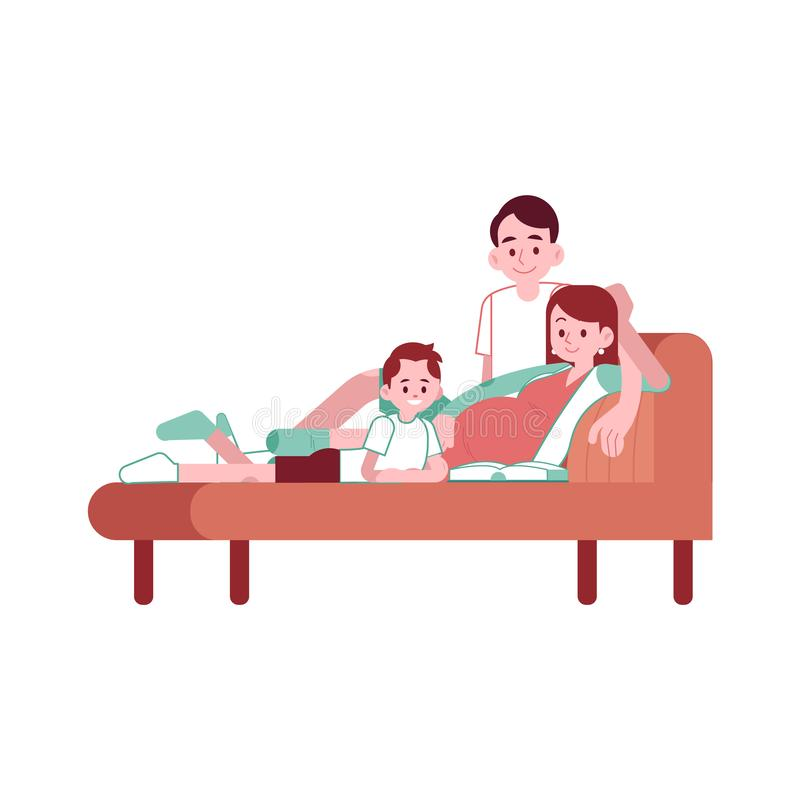 Vector happy pregnant woman with belly smiling. Vector happy pregnant woman with belly, man father and small boy kid lying at cough reading book smiling. Happy stock illustration