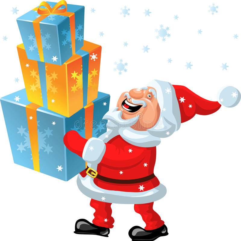 vector Happy Santa Claus brings of many gifts stock images