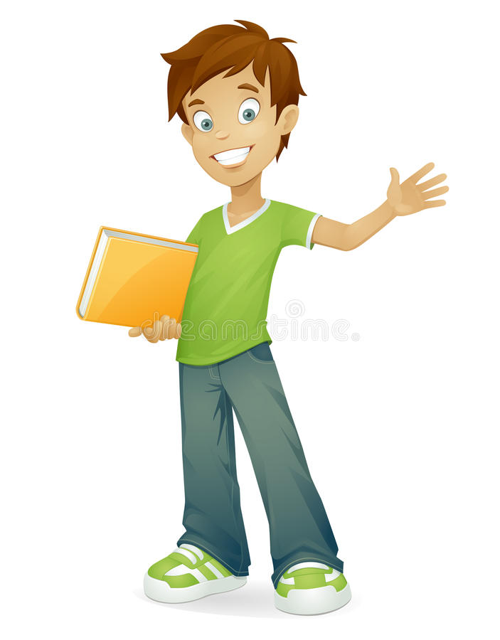 Vector happy school boy smiling waving vector illustration