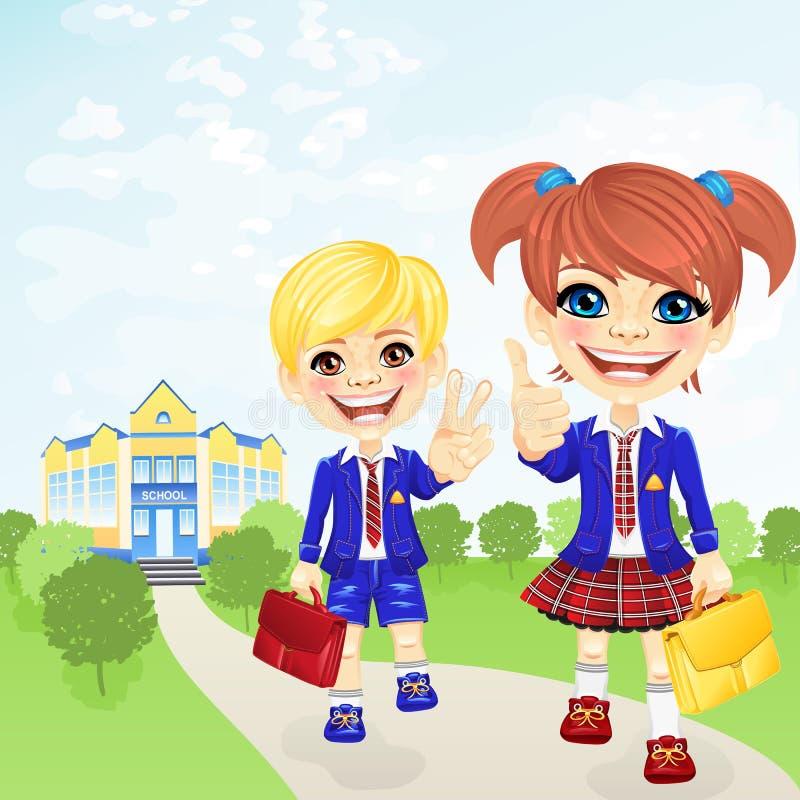 Vector happy schoolgirl and schoolboy near school royalty free stock photo