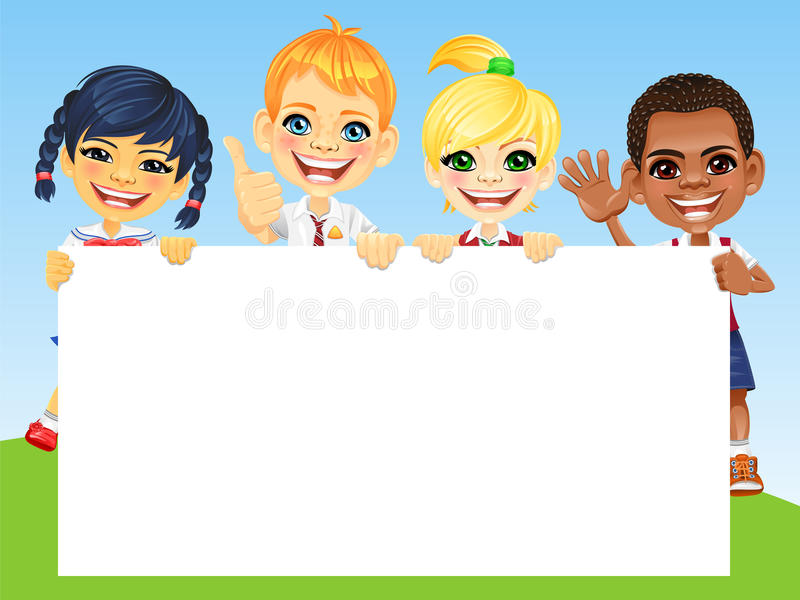 Vector happy smile kids and banner stock photography