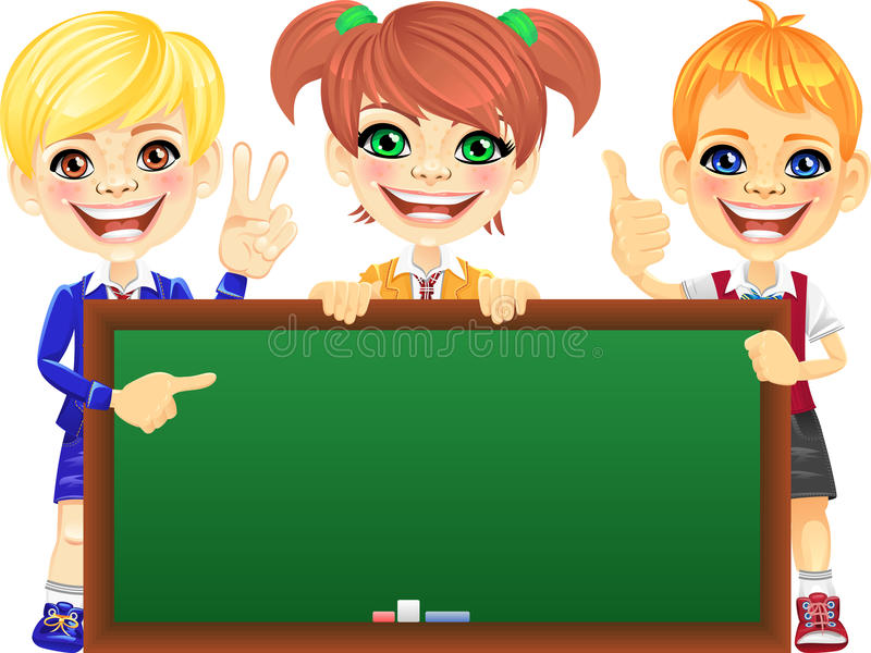Vector happy smile kids with banner Blackboard stock illustration