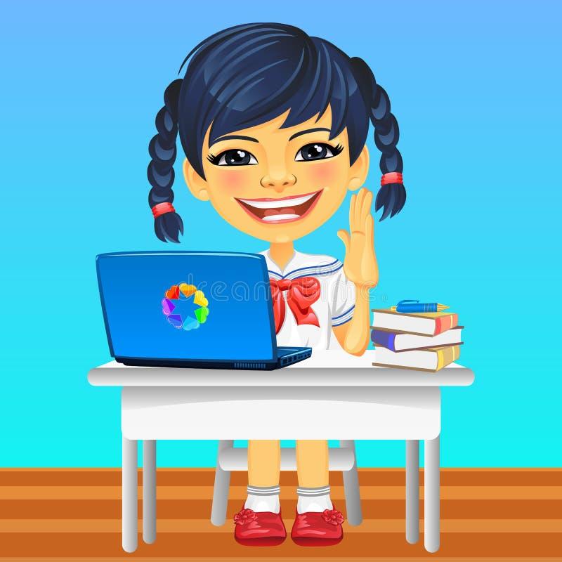 Vector happy smiling Asian schoolgirl royalty free stock photo