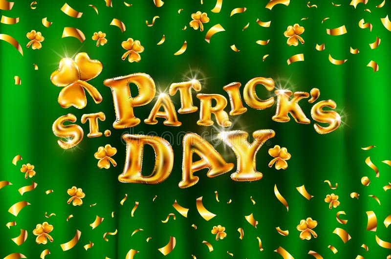 Vector Happy St. Patrick`s Day on green curtain background celebration gold balloons and golden confetti glitters. 3d Illustratio stock illustration