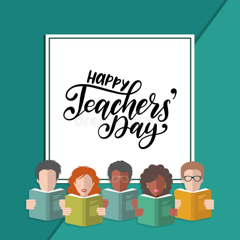 Vector Happy Teachers Day hand lettering in frame with illustration in flat style. royalty free illustration