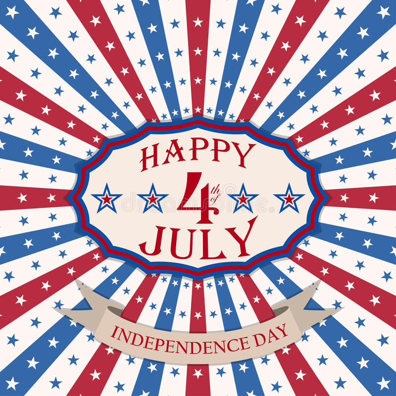 Vector Happy 4th of July background with stars and stripes. USA Independence Day festive design. stock illustration