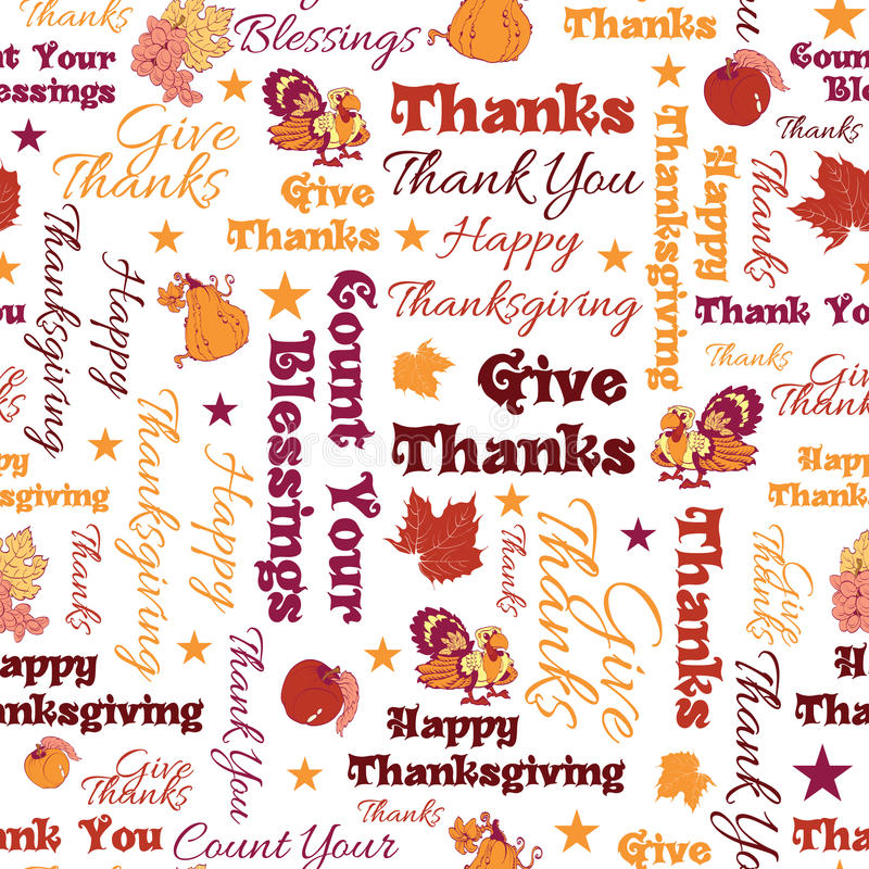 Vector Happy Thanksgiving Text Seamless Pattern royalty free stock photos