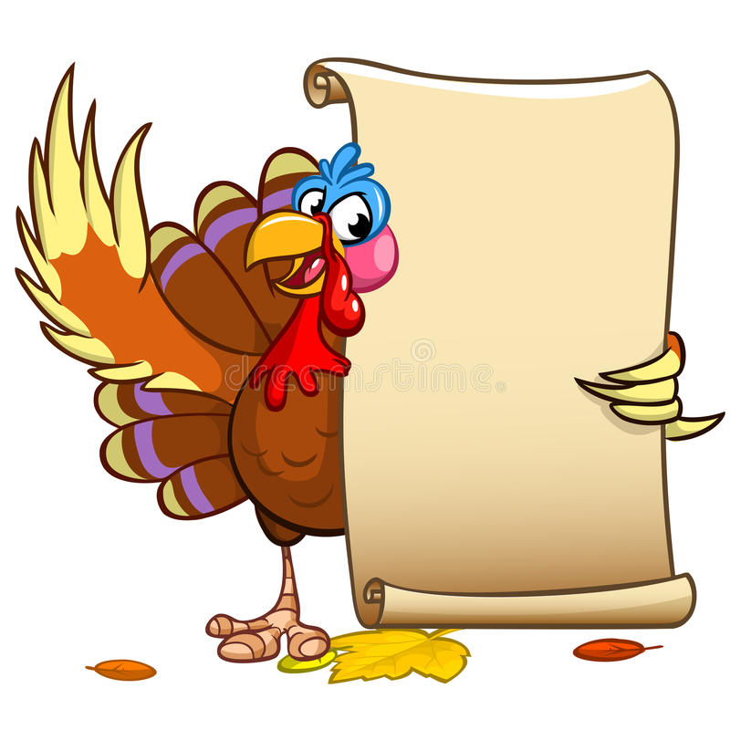 Vector happy Thanksgiving turkey with blank scroll vector illustration