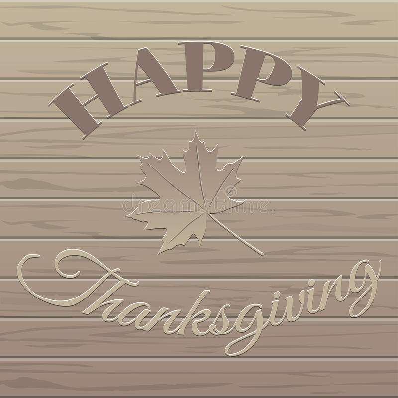 Vector Happy Thanksgiving wood background. royalty free illustration