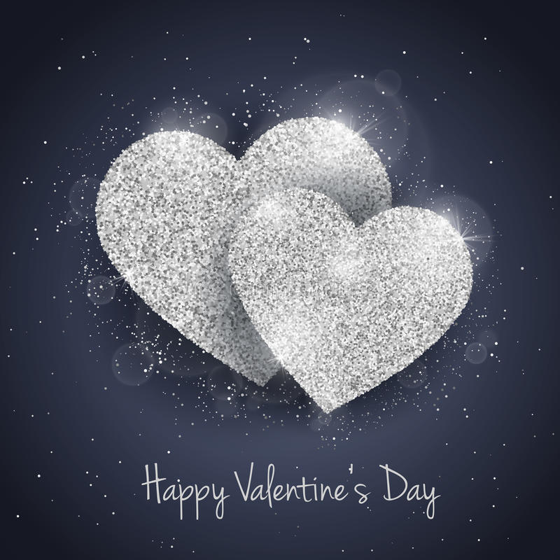 Vector Happy Valentine`s Day greeting card. With sparkling glitter silver textured hearts. Seasonal holidays background. Love Symbol background royalty free illustration