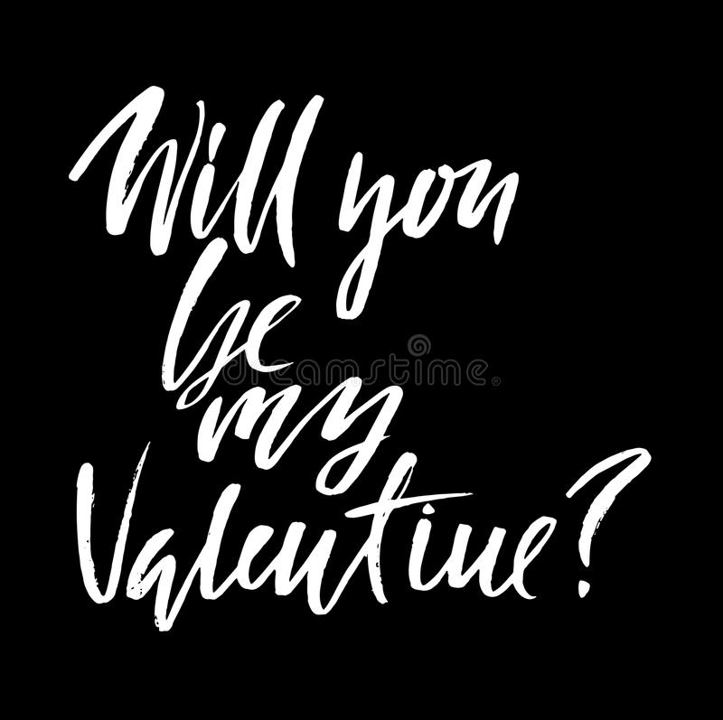 Vector Happy Valentine`s Day Vintage Card. Will you Be My Valentine Lettering. Vector Happy Valentine`s Day Vintage Card. Will you Be My Valentine Lettering vector illustration