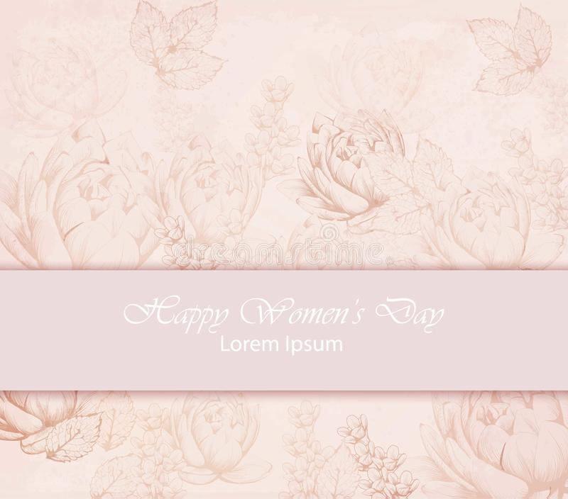 Vector Happy Women day card with delicate pink floral pattern backgrounds. Vector Happy Women day card with delicate pink floral pattern background stock illustration