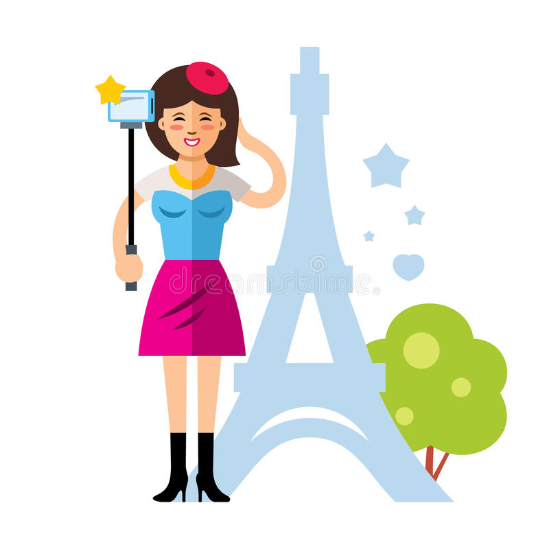 Vector happy young woman taking a selfie with mobile phone in Paris, France. Flat style colorful Cartoon illustration. royalty free illustration