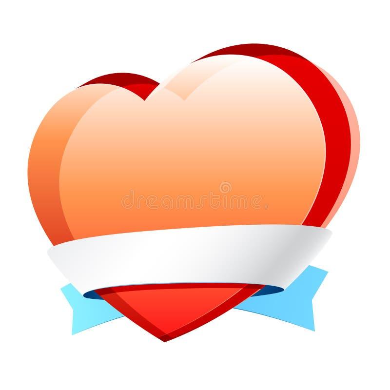 Vector hart met lint royalty-vrije illustratie
