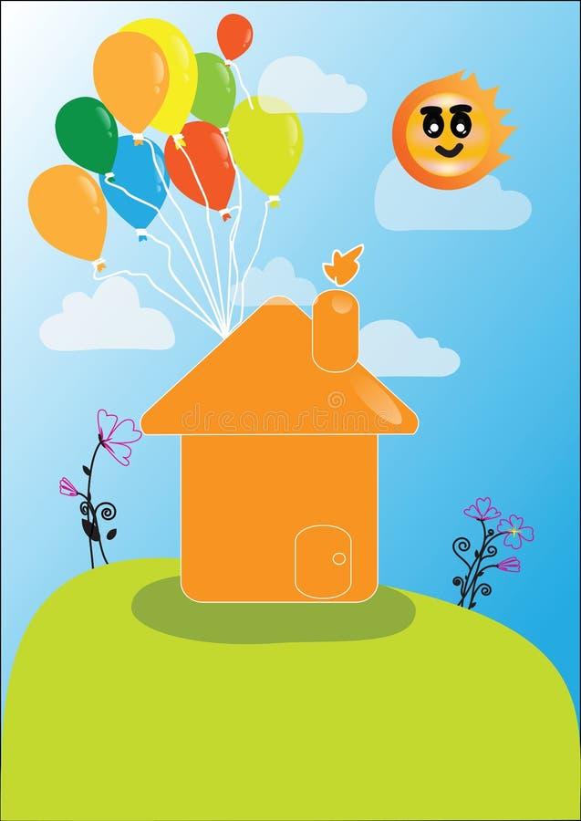 Vector Haus mit Losen bunten Ballonen stock abbildung