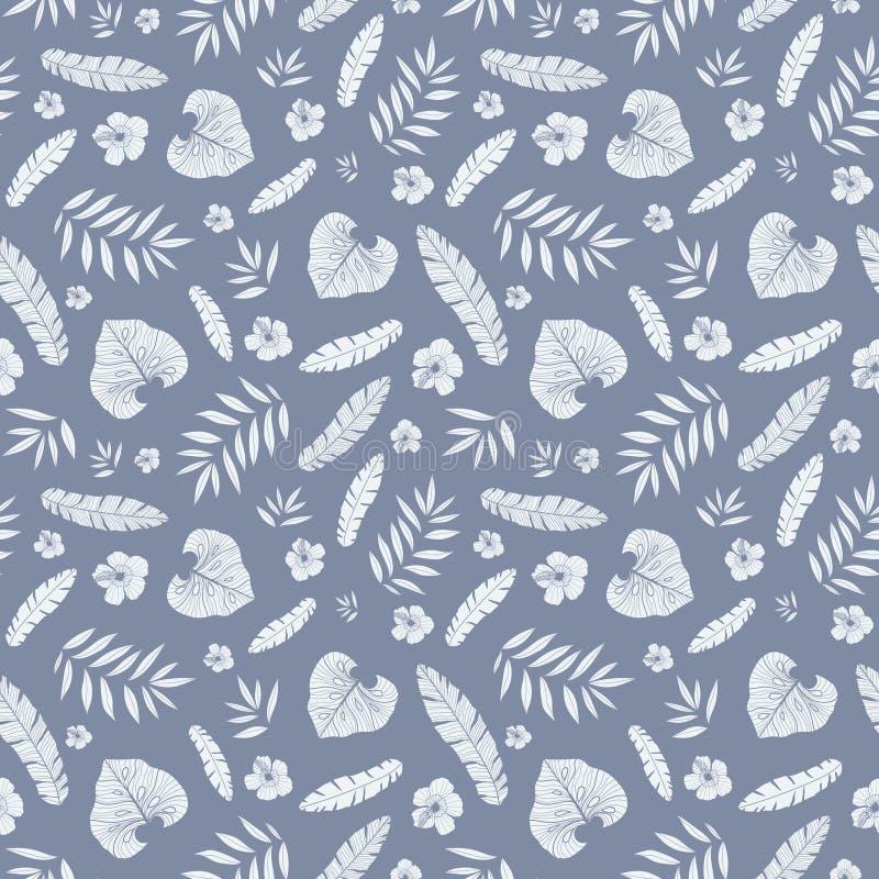 Vector hawaiisches nahtloses Muster des dunkelgrauen tropischen Sommers mit tropischen Anlagen, Blättern und Hibiscusblumen auf W vektor abbildung