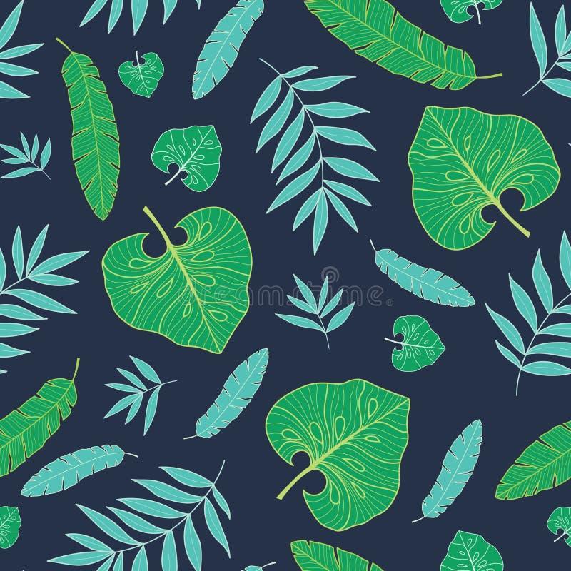 Vector hawaiisches nahtloses Muster des dunklen tropischen Sommers mit tropischen Grünpflanzen und Blättern auf Marineblauhinterg lizenzfreie abbildung