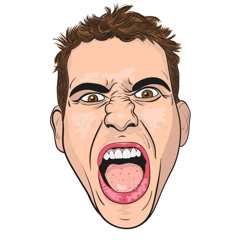 Vector head of a screaming young men. Vector head of a screaming angry young men. white background royalty free illustration