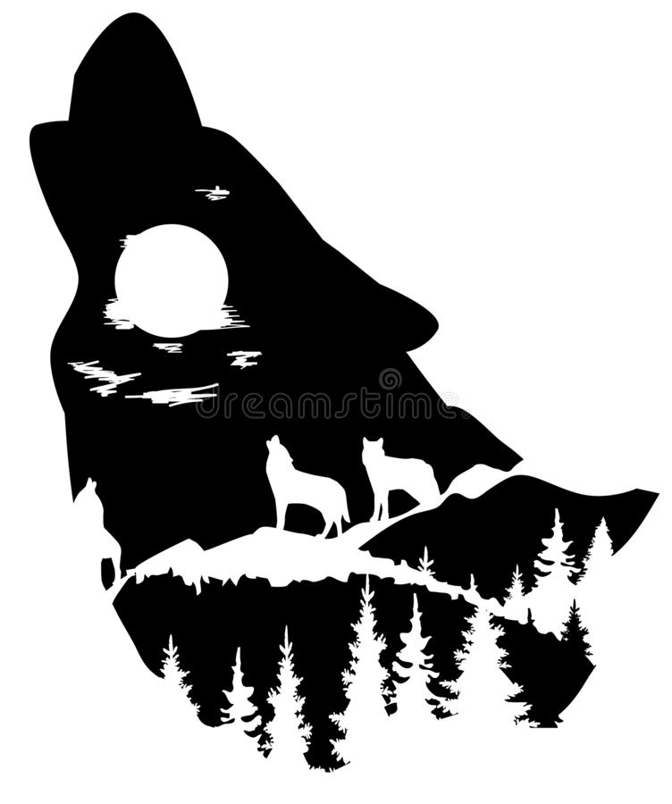 Vector head of a wolf silhouette. Vector wolf head silhouette. animal world. wilderness, nature concept. head silhouette with mountains, wolves, forest royalty free illustration