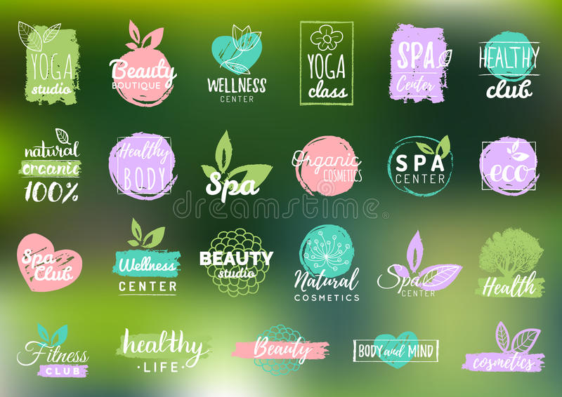 Vector health and beauty care labels. Spa, yoga centers badges. Wellness signs. Hand drawn tags and elements. vector illustration