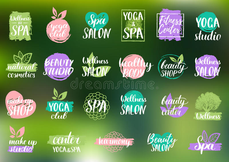 Vector health and beauty care labels. Spa, yoga centers badges. Wellness signs. Hand drawn tags and elements. stock illustration