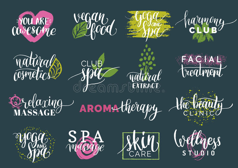 Vector health and beauty care labels. Spa,yoga centers badges. Wellness signs. Hand drawn tags set for organic cosmetics stock illustration