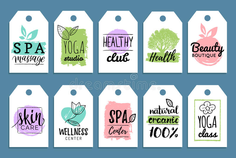 Vector health and beauty care labels. Spa, yoga centers tags. Wellness labels. Hand drawn stickers and elements set. stock illustration