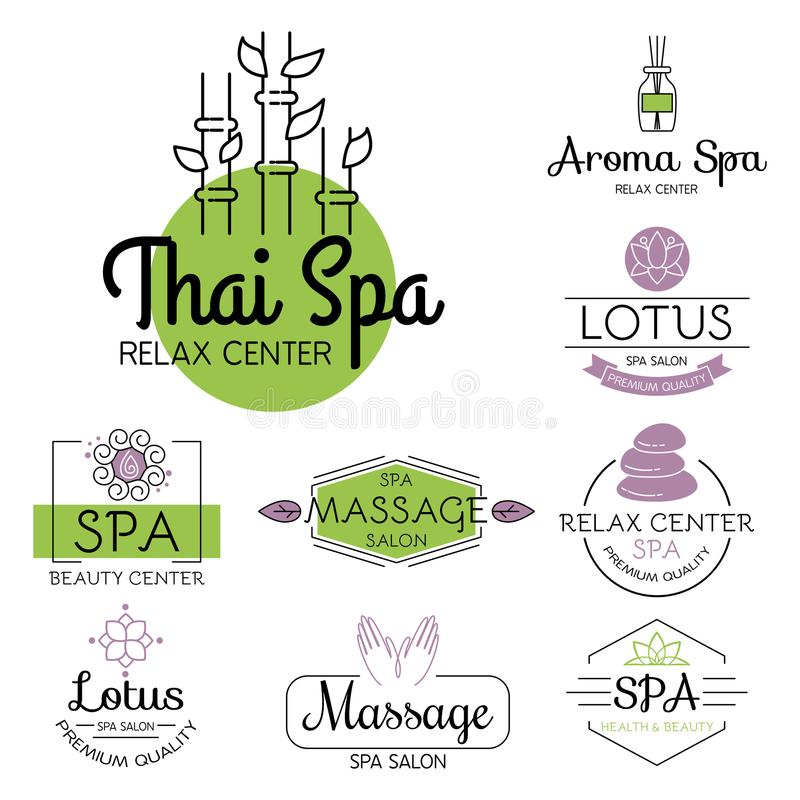 Vector health and beauty care spa badge hand drawn tags and elements set for organic cosmetics, natural products. royalty free illustration