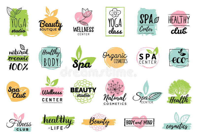 Vector health and beauty care logtypes. Spa,yoga centers badges. Wellness signs. Hand drawn tags and elements set. royalty free illustration