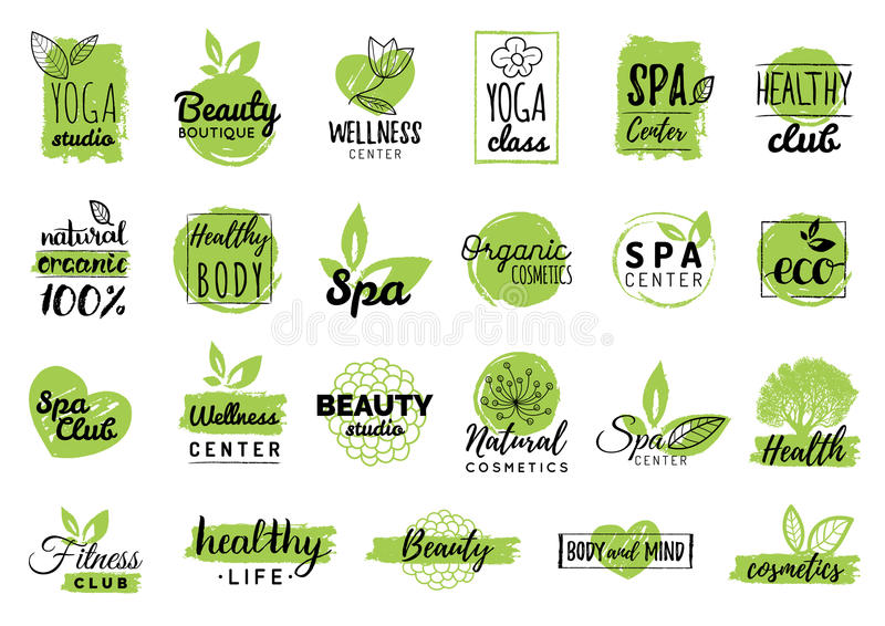 Vector health and beauty care logtypes. Spa,yoga centers badges. Wellness signs. Hand drawn tags and elements set. vector illustration