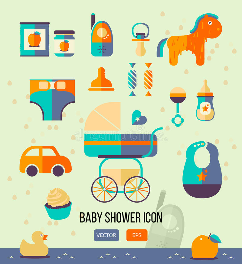 Vector illustration baby shower icon for invitation template, party theme, web design. Flat style. royalty free illustration